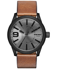 Diesel Men's Rasp Light Brown Leather Strap Watch 46x53mm DZ1764