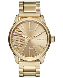 Diesel Men's Rasp Gold-Tone Stainless Steel Bracelet Watch 46x53mm DZ1761