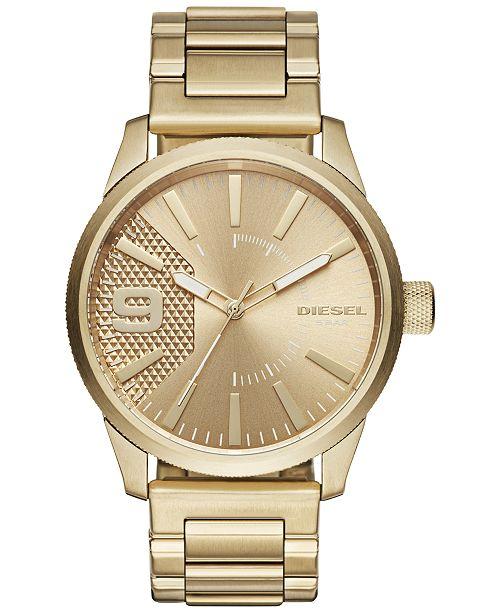 Diesel Men's Rasp Gold-Tone Stainless Steel Bracelet Watch 46x53mm DZ1761