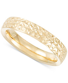 Italian Gold Textured Band in 14k Rose, Yellow or White Gold