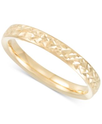 Italian Gold Thin Textured Band in 14k Gold Rose Gold or White