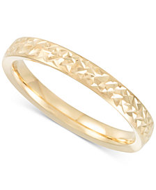 Italian Gold Thin Textured Band in 14k Gold, Rose Gold or White Gold