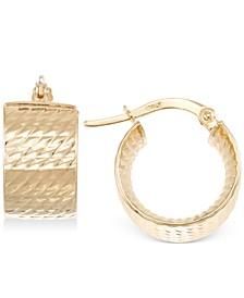 Textured Chunky Hoop Earrings in 14k Gold