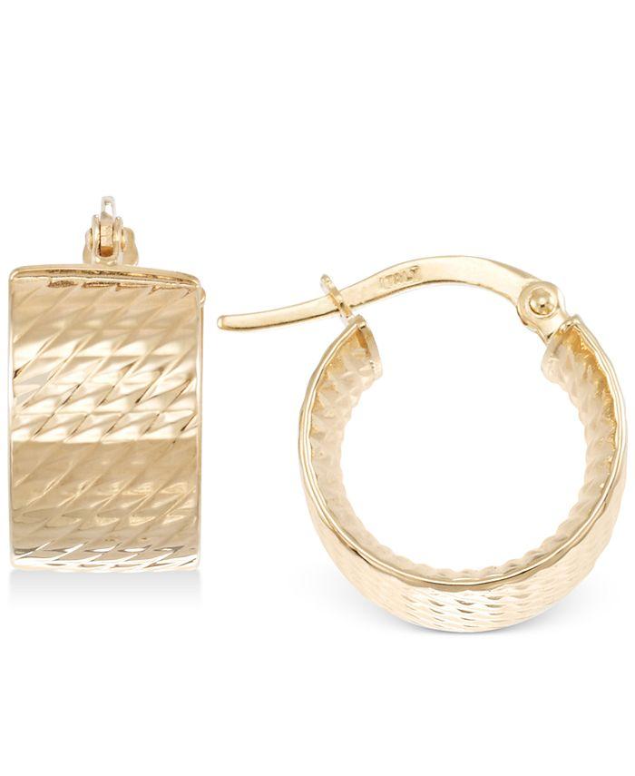 Italian Gold - Textured Chunky Hoop Earrings in 14k Gold