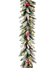 "9' X 10"" Dunhill Fir Garland with Snow, Red Berries, Cones and 50 Clear Lights"