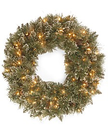 "24"" Glittery Bristle Pine Wreath with 50 Clear Lights"