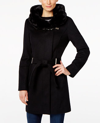 Calvin Klein Faux Fur Hood Asymmetrical Coat Amp Reviews