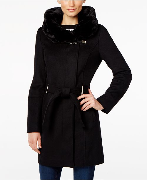 81edde4ddc9f9 Calvin Klein Faux-Fur-Hood Asymmetrical Coat   Reviews - Coats ...