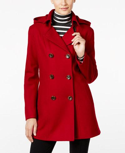 Nautica Hooded Double-Breasted Peacoat - Coats - Women - Macy's