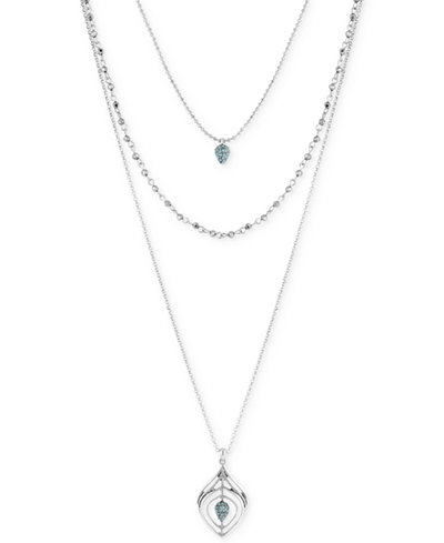 Lucky Brand Silver-Tone Multi-Layer Stone Pendant Necklace