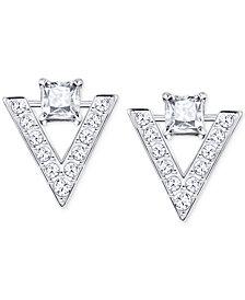 Swarovski Silver-Tone Crystal and Pavé Chevron Drop Earrings