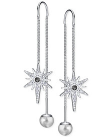 Swarovski Silver-Tone Pavé Star and Polished Ball Threader Earrings