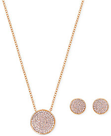 "Swarovski 15"" Pavé Disc Pendant Necklace and Matching Stud Earrings Set"