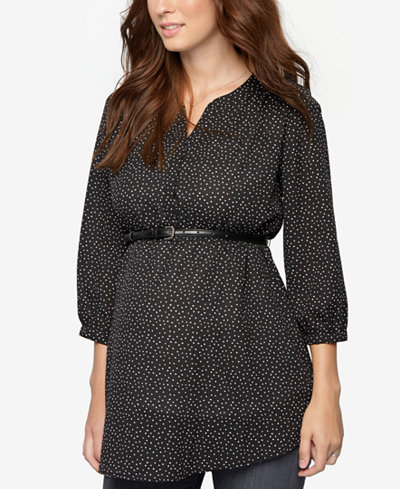A Pea In The Pod Maternity Printed Belted Tunic