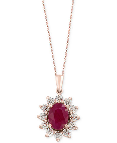 Amoré by EFFY® Certified Ruby (1-9/10 ct. t.w.) and Diamond (9/10 ct. t.w.) Pendant Necklace in 14k Rose Gold, Created for Macy's
