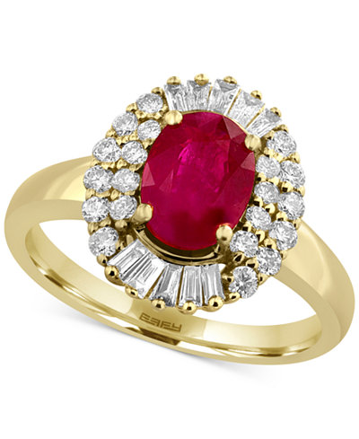 Amoré by EFFY® Certified Ruby (1-3/8 ct. t.w.) and Diamond (1/2 ct. t.w.) Statement Ring in 14k Gold, Created for Macy's