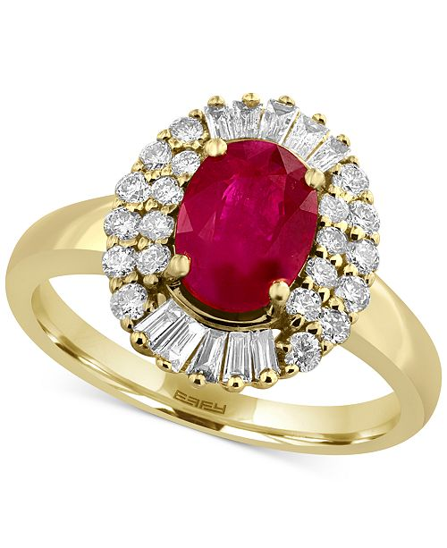 EFFY Collection Amoré by EFFY® Certified Ruby (1-3/8 ct. t.w.) and Diamond (1/2 ct. t.w.) Statement Ring in 14k Gold, Created for Macy's
