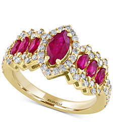 EFFY® Final Call Ruby (1-1/3 ct. t.w.) and Diamond (5/8 ct. t.w.) Ring in 14k Gold
