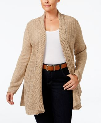 NY Collection Plus Size Marled Pointelle Fan-Back Cardigan