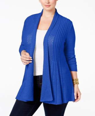 NY Collection Plus Size Pointelle-Knit Duster Cardigan