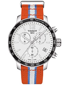 Tissot Unisex Swiss Oklahoma City Thunder Quickster Orange, White & Light Blue Strap Watch 42mm T0954171703714