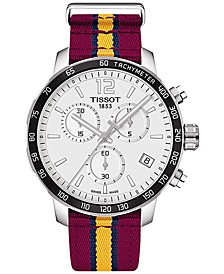 Unisex Swiss Chronograph Cleveland Cavaliers Quickster Wine, Yellow & Navy Strap Watch 42mm T0954171703713