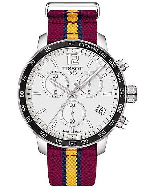 Tissot Unisex Swiss Chronograph Cleveland Cavaliers Quickster Wine, Yellow & Navy Strap Watch 42mm T0954171703713