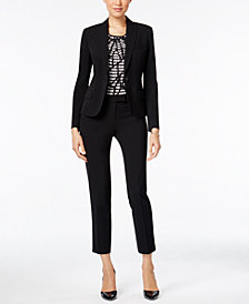 Anne Klein One-Button Blazer, Printed Top & Skinny Pants