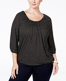 MICHAEL Michael Kors Plus Size Dot-Print Peasant Top