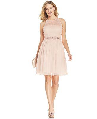 Adrianna Papell Belted Chiffon Halter Dress - Women - Macy's