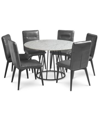 Callisto Marble Round Dining Set, 7 Pc. (Dining Table U0026 6 Side Chairs),  Created For Macyu0027s
