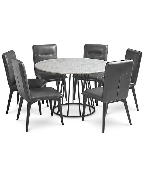 Furniture Callisto Marble Round Dining Set, 7-Pc. (Dining Table & 6 ...