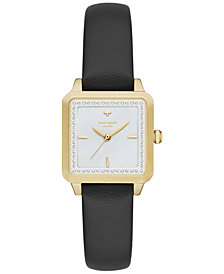 kate spade new york Women's Washington Square Black Leather Strap Watch 25mm KSW1169