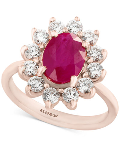 Amoré by EFFY® Certified Ruby (1-9/10 ct. t.w.) and Diamond (9/10 ct. t.w.) Ring in 14k Rose Gold, Created for Macy's