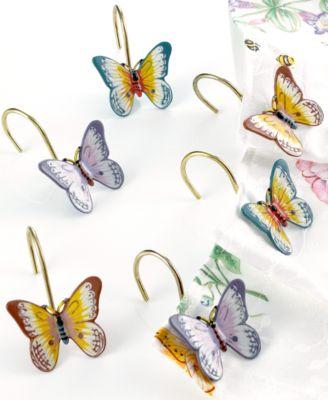 """""""Butterfly Meadow"""" Shower Curtain Hooks, Set of 12"""