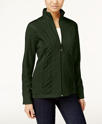 Style & Co Quilted Fleece Jacket, Only at Macy's - Jackets - Women ...