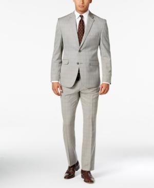 Men's Vintage Style Suits, Classic Suits Perry Ellis Portfolio Black and White Glen Plaid Trim-Fit Suit $169.99 AT vintagedancer.com