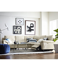 Stefana Leather Power Reclining Sectional Sofa, Created for Macy's