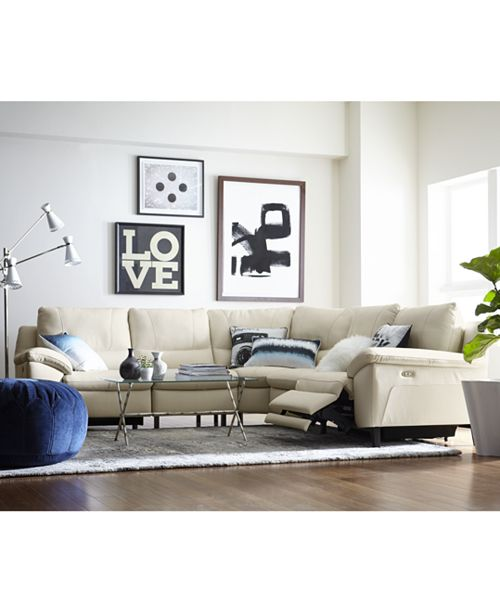 Furniture Stefana Leather Power Reclining Sectional Sofa, Created ...