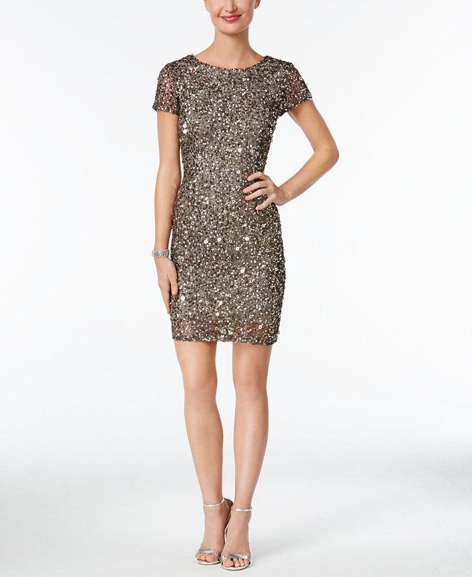 Adrianna Papell Beaded Cap-Sleeve Sheath Dress