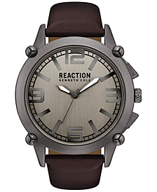 Men's Brown Synthetic Leather Strap Watch 49mm 10030947