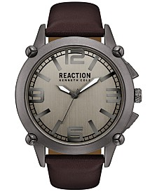 Kenneth Cole Reaction Men's Brown Synthetic Leather Strap Watch 49mm 10030947