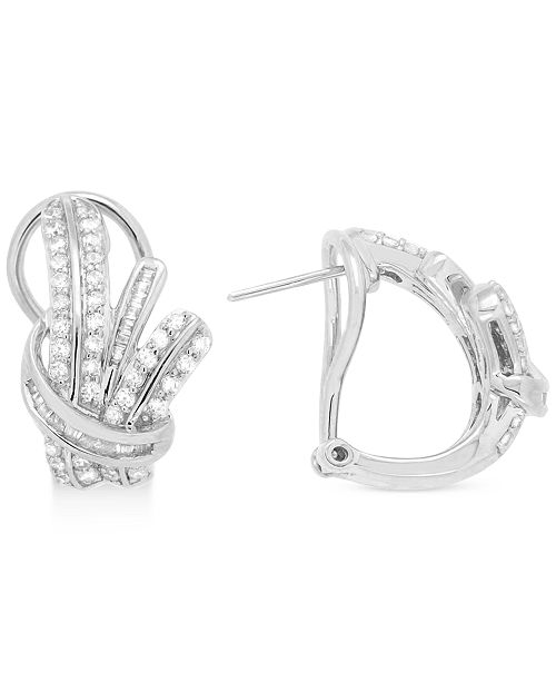 Wrapped in Love  Diamond Fancy Hoop Earrings (1 ct. t.w.) in Sterling Silver, Created for Macy's