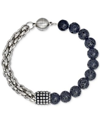 Lava Bead Bracelet in Stainless Steel, Created for Macy's