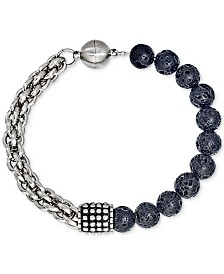 Esquire Men's Jewelry Lava Bead Bracelet in Stainless Steel, Created for Macy's
