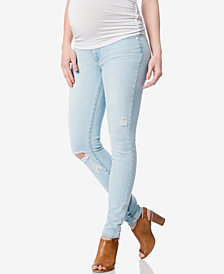 Paige Denim Maternity Powell Deconstructed Wash Skinny Jeans