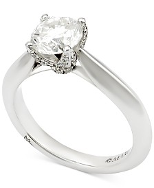 Marchesa Certified Diamond Engagement Ring (1-5/8 ct. t.w.) in 18k White Gold, Created for Macy's