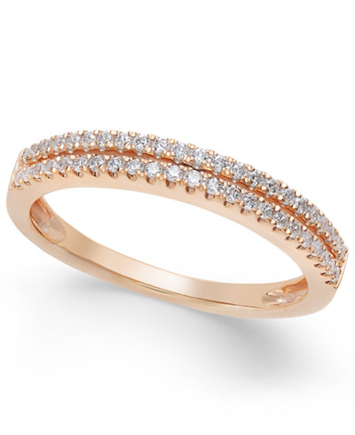 Diamond Double Row Band in (1/4 ct. t.w.) in 14k Gold, White Gold or Rose Gold