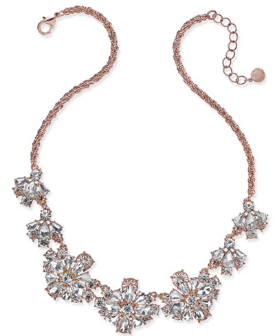 Charter Club Rose Gold-Tone Floral Crystal Necklace, Created for Macy's