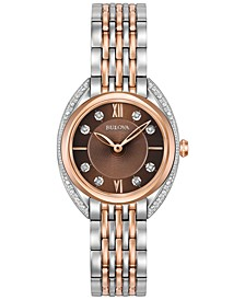 Women's Diamond Accent Two-Tone Stainless Steel Bracelet Watch 30mm 98R230